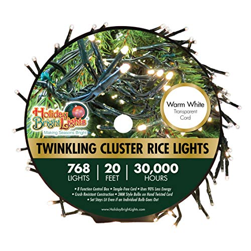 Holiday Bright Lights Christmas 768L Twinkling Cluster Rice Light Reel - Warm White, Green Cord