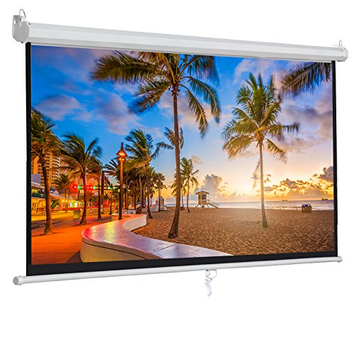 "BBBuy 100"" Projector Screen Manual Pull Down, 100 inch Diagonal Widescreen Indoor Home Theater Cinema Platform 16:9 Aspect Ratio Projection Screen"