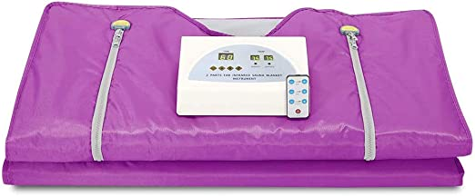 TOPQSC Sauna Blanket, 2-Zone Digital far-Infrared (FIR) Oxford Zipper Type, Professional detoxification Therapy Machine (Purple)
