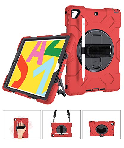 SUPFIVES STOCK iPad air 2 Case, Heavy Duty Protective 360 Rotatable Stand Adjustable Shoulder Strap Shockproof Case with Pencil Holder & Hand Strap for iPad 6th/5th Generation Pro 9.7 (Black+Red)
