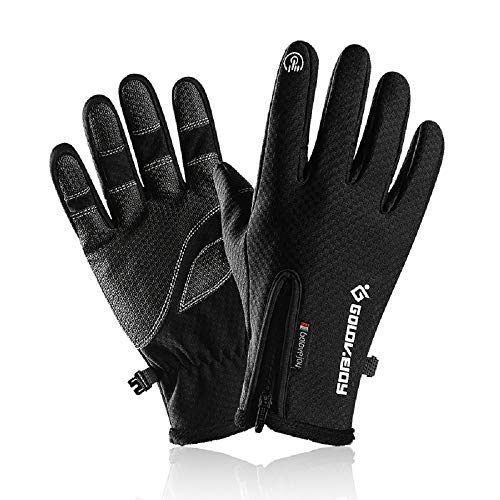 Winter Gloves for Men&Women Touch Screen Gloves Waterproof Warm Fleece Gloves Driving Running Cycling Cold Weather Gloves (XX-Large, Black)