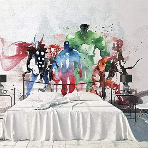 Papel Pintado Fotomurales Marvel 3D Cartoon Cartoon Boy Girl Niños Habitación Dormitorio Papel Tapiz De Fondo Mural Verde Transparente Decorativo Revestimiento De Pared, 400 * 280
