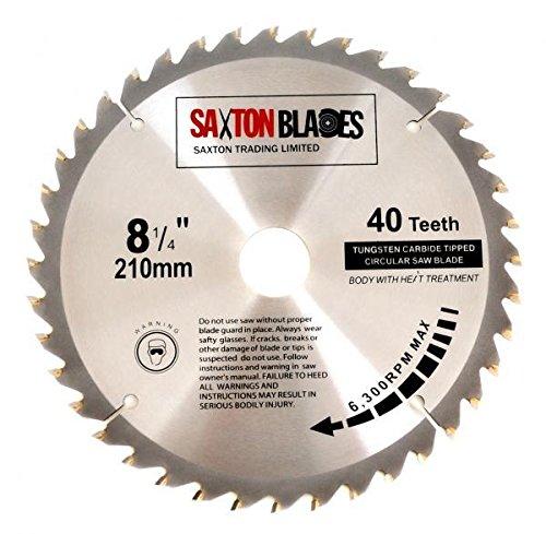 Saxton Lame de scie circulaire TCT - 210 mm x 30 x 40 t pour Festool Bosch, Makita, etc.