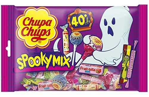 Chupa Chups - Spooky Mix- Confiseries Assorties, Idéales pour Halloween et Fêtes d'Anniversaire - Sucettes Chupa Chups + Bonbons Tendres Fruittella + Rouleaux Look-O-Look - Mix de 40 Bonbons