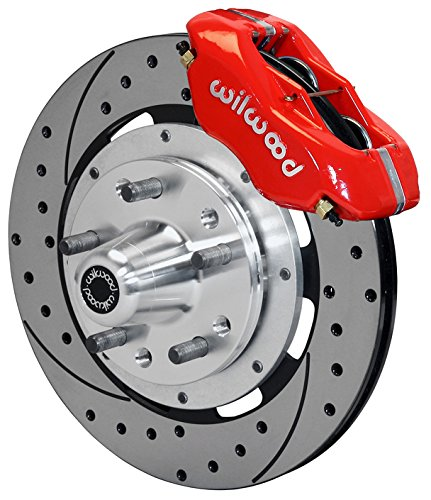 NEW WILWOOD FRONT DISC BRAKE KIT, 12″ DRILLED ROTORS, RED DYNALITE 4 PISTON CALIPERS, PADS, 1965 – 1970…