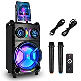 Karaoke Machine for Adults, GEBER Portable PA System Bluetooth Speaker with 12'' Subwoofer, 2 Wireless Microphones+DJ Light+TV Cable, for Home Karaoke Singing Party, Meeting, Indoor/Outdoor Activities