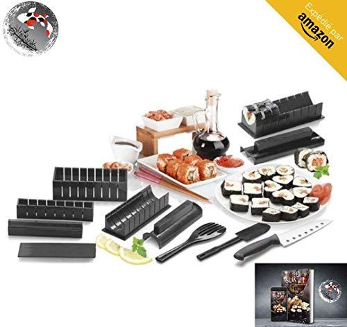 Sushi Maker Kit - Set Sushi Completi + Ebook 50 Ricette in Italiano 11 Pezzi - Con Coltello da Sushi Expert Cottura del Riso - Accessori da Cucina Giapponese