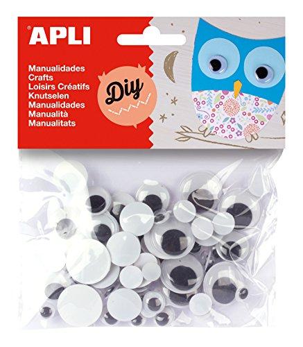 APLI 13058 - Sachet de 75 yeux mobiles ronds noirs - Matériel loisirs créatifs.
