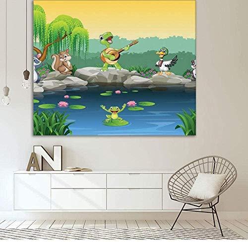 ZEDWENT Wandteppich Wandwand 150 * 200cm,Lustige Tiere der Karikatur, die um den See singen Ao Froschschildkröte Lustiges Kunstwerk Blau Blau Plaids Taplo