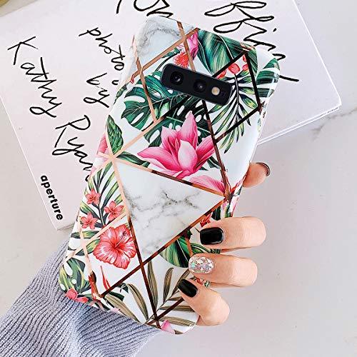 Uposao Kompatibel mit Samsung Galaxy S10e Marmor Hülle Case Glitzer Marmor Blumen Muster Weiche TPU Silikon Ultra Dünn Hülle Schutzhülle Kratzfest TPU Bumper Handytasche Case Cover,Rosa