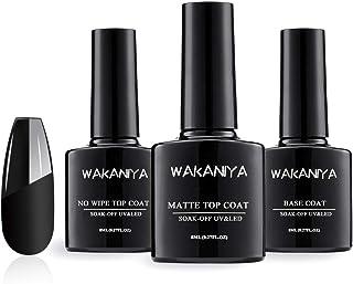 Wakaniya Base y Top coat Semi-permanentes Mate Brillante No Wipe Secado Rápido Esmaltes para Uñas Capa Superior Base UV/LE...