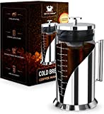 Cafe du Chateau Cold Brew Coffee Maker - 34 Ounces - 304 Grade Stainless Steel Filter - Borosilicate Glass Body - Dual Layer Airtight Silicone Seals