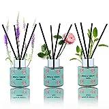 Binca Vidou Reed Diffuser Set of 3, Lavender Rose...