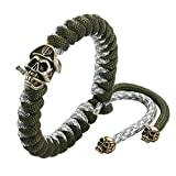 T400 Green Red Paracord Parachute Cord Survival Braided Rope Bracelet for Men Boys