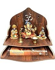 Houten wandgemonteerde Puja-tempel/houten mandir/Pooja Mandir voor thuis en kantoor/tempel voor festivals, geschenkdoel (29 x 29 x 26,5 cm bruin)