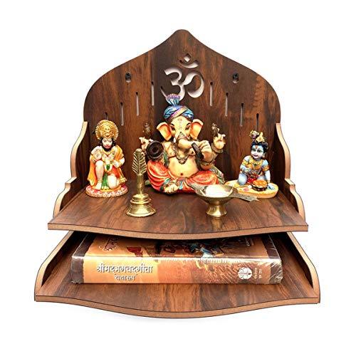 Houten wandgemonteerde Puja-tempel/houten mandir/Pooja Mandir voor thuis en kantoor/tempel voor festivals, geschenkdoel…