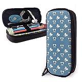 Bolso de cuero con cremallera doble Pu Funda de lápiz Papelería de alta capacidad Bolso de bolsa de dibujos animados Gris Dental Dientes Brackets