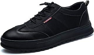 DADIJIER Zapatillas de Deporte para Correr para Hombres, de Cuero de PU, Transpirables, Plataforma, Zapatos de Tablero Low...