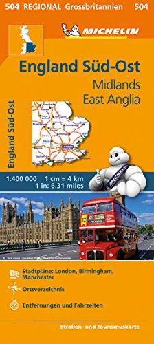 Michelin England Süd-Ost, Midlands, East Anglia: Straßen- und Tourismuskarte 1:400.000 (MICHELIN Regionalkarten)