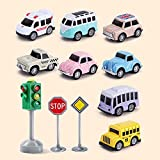 Sxcespp Juego de automóviles de Mini-aleación de bebé, (Set de 8 Piezas + semáforo) Carro de niños y Carro de Juguete, Carro de Juguete de fricción, cumpleaños para niños. Encantadora