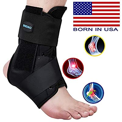 SNEINO Ankle Brace,Lace Up Ankle Brace for Women?Ankle Brace for Men,Ankle Brace Stabilizer,Ankle Brace for Sprained Ankle,Ankle Braces, Volleyball Ankle Braces,Ankle Supports for Women (Large)