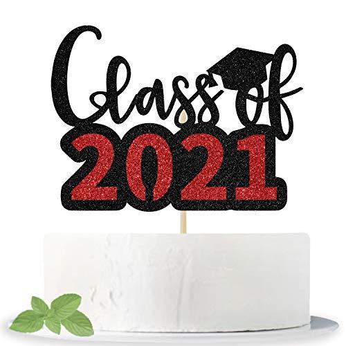 Glittery Class of 2021 ケーキトッパー - Congrats Grad Cake Decor - 2021 高校/大学/シニア卒業パーティーデコレーション用品 (ブラックとレッド)