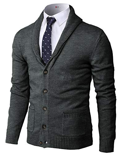 H2H Mens Basic Cardigan with Shawl Collar NAVY US S/Asia M (JNSK03)