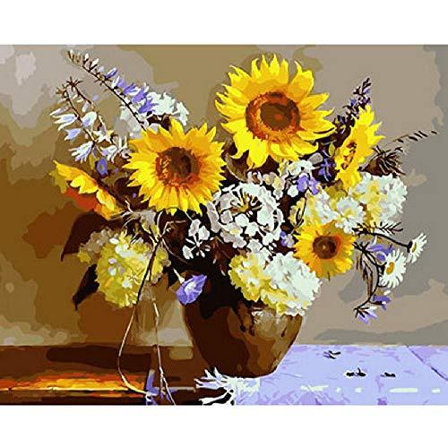LYWUSUZE Malen Nach Zahlen Für Erwachsene Auf Leinwand Sonnenblume Und Ähre Wohnzimmer Schlafzimmer Art Deco Erwachsene Kinder Einzigartiges Geschenk