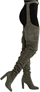 Slouch Rihanna Suede Flock Thigh High Boots Over Knee Boots Block Heel Solid Pointed Toe Combat T-Tied Sexy Garter Chaps Suspender Wrap-Around