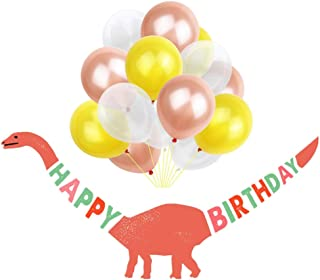 Nenluny Dinosaur Happy Birthday Banner with 15pcs 10inch Balloons Set Dinosaur Party Supplies Decorations