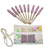 Crochet Hooks Set with Polymer Clay Handle, Ergonomic Crochet Hooks with Storage Case & Crochet Accessories
