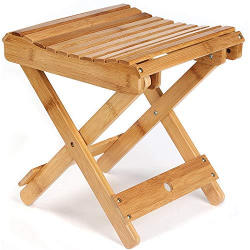 Cobeky Taburete plegable de bambú para ducha, afeitado de piernas y reposapiés, silla de baño de madera totalmente montada para adultos y niños