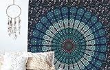 raajsee Tapices de Pared Color Azul Tipo Mandala de Doble ;o de Pavo Real,Ropa de Cama Estilo Indio, Colgante de Pared Bohemio, Cubierta de Cama de Estampado Floral, Tapiz Hippie (54x84)