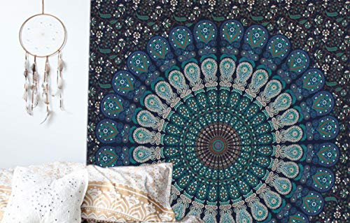 raajsee Indisch Psychedelic Wandteppich Mandala Blau Turquoise Tapestry/Elefant Boho Wandtuch Hippie/Mehrfarbige Indischer Wandbehang Tuch Twin 54x82 Inch/Indien Baumwolle Wand tucher 140x210 cm