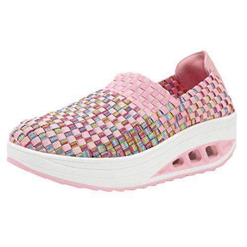 Zapatos para Mujer Otoño 2018 Zapatillas de Dama con Plataforma PAOLIAN Casual Tela de Paja Cómodo Calzado de Señora Moda Breathable Zapatillas de Deporte