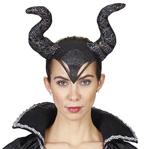 Das Kostmland Diadema con cuernos para disfraz de reina del mal  Negro  Accesorio Diabolo demonio oscuro hada carnaval Halloween