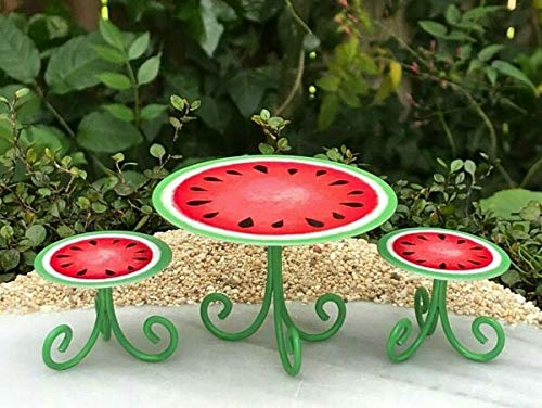 New Ornaments - Miniature Dollhouse Fairy Garden/Accessories Watermelon Beach Table & Chairs/Garden Décor, Ornaments, Statues by Lukas Winges