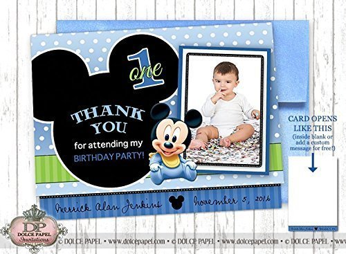 10 BABY MICKEY MOUSE Black and Blue Metallic Birthday Party Thank You Cards Specialty Folding Card 4.25x5.5