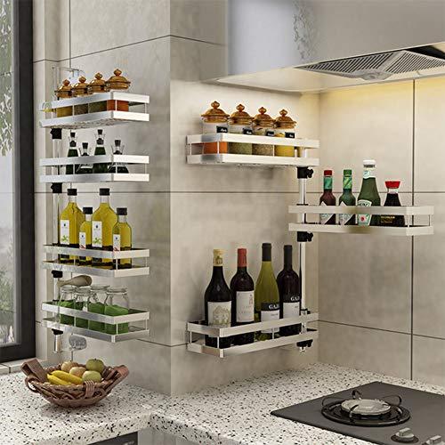 YZZ Stanzfreier Küchenständer Wandgewürzständer Aus Edelstahl mit Drehbarem, Mehrlagigem Winkelrahmen,2