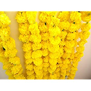 TIED RIBBONS Artificial Marigold Flowers String (Pack of 5) – Flower Garlands for Indian Wedding Party House Warming and Home Decoration