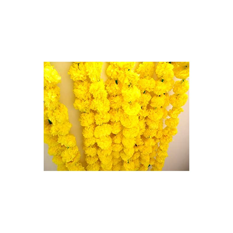 silk flower arrangements tied ribbons artificial marigold flowers string (pack of 5) - flower garlands for indian wedding party house warming and home decoration