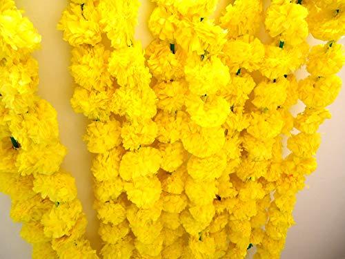 Nastri legati artificiali di calendula (confezione da 5) – Ghirlande di fiori per feste di nozze indiane casa riscaldamento e decorazione della casa