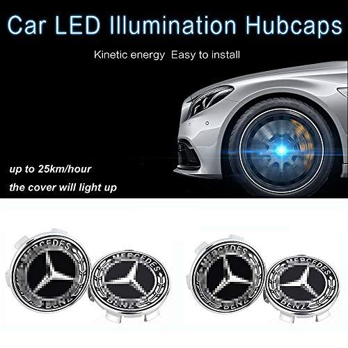 L&U 4 Stücke LED-Licht Magnetschwebebahn wasserdichte Radnabe Centre Caps Abdeckung für Mercedes-Benz C200 E300l GLC Neue C-Klasse E-Klasse,Schwarz