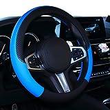 SHIAWASENA Car Steering Wheel Cover, Leather, Universal 15 Inch Fit , Anti-Slip & Odor-Free (Black&Blue)