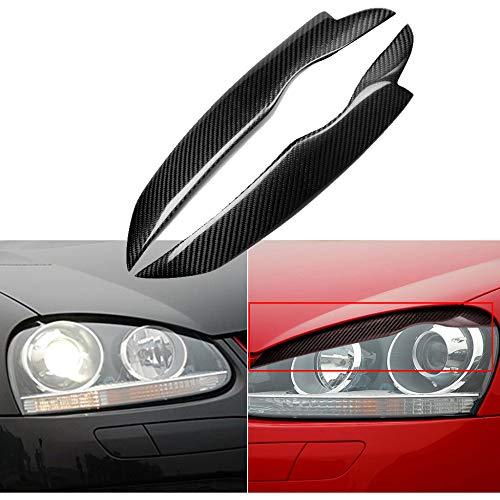 JNSMQC Auto 2PCS Styling Real Carbon Fiber Scheinwerfer Augenbrauen Augenlider Aufkleber Trim Cover Aufkleber Zubehörteile.Für Golf5 MK5 2005 2009