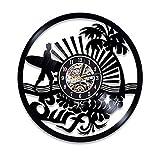 Hanzeze Reloj de Pared de Vinilo - Surf en la Playa soleada 3D Vintage Cuarzo Silencioso Hecho Mano Negro Moderno Regalo Creativo único Decoración Hogar Arte 30cm
