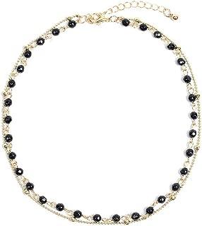 Dainty Layered Opal Black Beaded Choker Necklace 14k Gold/Silver Plated Collar Chain Women Girls