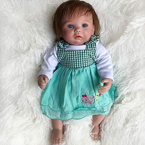 Yeah-hhi Muñecas Reborn Azul Ojo Azul Cuerpo Suave Soft Touch Real Touch Simulación Baby Muñeca para Niños, Regalo