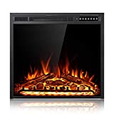 Xbeauty 28 Inch Electric Fireplace Insert, Infrared Electric Fireplace, Three 3D Color with Log and Flame, Indoor Heater with Timer&Remot Control, Adjustable Flame Speed, Touch Screen, 750W/1500W