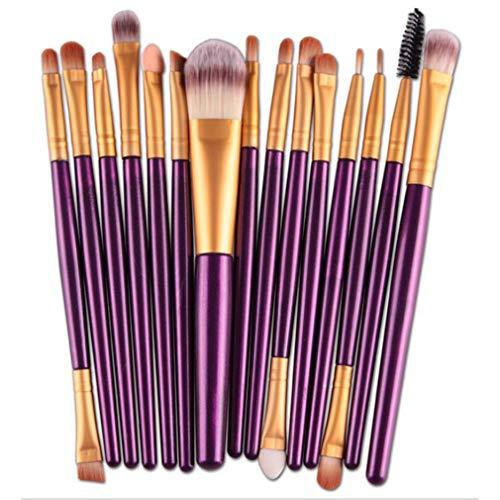 Mvude Pinceaux de Maquillage pour Les Yeux Soft Synthetic Hairs Professional 15 Pieces Eyeshadow Makeup Brush Set,Tube d'or Tige Violette